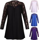 Womens Plus Size Long Sleeve Ladies Stretch Floral Lace Panel Gathered Dress Top