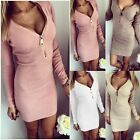 Sexy Womens Zipper V-neck Bodycon Long Sleeve Bandage Cocktail Party Mini Dress