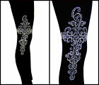 REGULAR OR PLUS SIZE LEGGINGS Embellished Iridescent Aurora Borealis Cross(s)