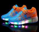 LED Light Lace Up Unisex Roller Shoes Flashing Roller Skates With Wheel Blue