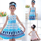 Cute Kids Girl's Peacock Color Pattern Bow Sleeveless Princess Dress size2-8Year