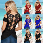 Sexy Fashion Women/Lady Lace Short Sleeve Casual Top Blouse Shirt Lace New