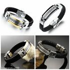 Cool Men Black Genuine Leather Stainless Steel Clasp Wristband