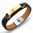 1PC Fashion Mens Cross PU Leather Stainless Steel Bracelet Jewelry