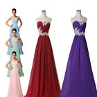 New Long Chiffon Beads Bridesmaid Formal Gown Ball Party Evening Prom Maxi Dress