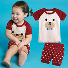 "Vaenait Baby Kid Girls Boys Clothes Short Pyjama Outfit set ""Cherry bear"" 12M-7T"