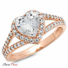 1.85 CT Heart Cut Sim Solitaire Engagement Wedding Ring Rose Sterling Silver RP