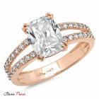 4.45 CT Cushion cut Sim  Engagement Promise Bridal ring  Rose Sterling Silver GP