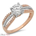 1.3CT Round Cut A+ CZ halo Engagement Ring Bridal band Multi Sterling Silver GP