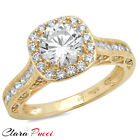 1.95 CT RD Cut A+ CZ Engagement Bridal band Ring halo YELLOW Sterling Silver GP