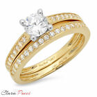 1.35 CT Round Cut A+ CZ Engagement Bridal Ring band set Multi Sterling Silver GP