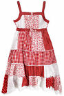 Girls Red 100% Cotton Sun Dress New Kids Floral Summer Dresses Ages 3-11 Years