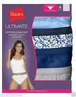 4 Pack Hanes Women's Ultimate Cotton Comfort Hi-Cut Panties Blues Size 5-10-LotA