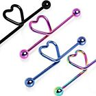 New Surgical Steel PVD Plated Love Heart Scaffold Industrial Piercing Bar 14g