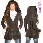 New Ladies Sexy Warm Winter Jacket Coat Outerwear Size 6 8 10 12 14 S M L XL