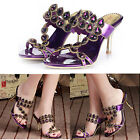 Vogue Womens Rhinestone Heels Sandals Charm Purple Party Pumps Sandals Slipper