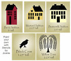 STENCIL Saltbox House Home Folk Art Primitive Crow Willow Tree Country Signs