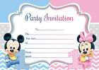 10 x Twins Joint Birthday Invitations Thank you Cards BABY MINNIE MICKEY MOUSE