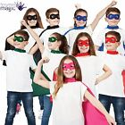 Kids Girls Boys Superhero Comic Book Cape Eye Mask Fancy Dress Costume Outfit
