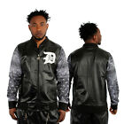 Dirty Money Faux Leather Top Black Bandanna Sleeves College Track Jacket Man PU