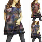 BLUE/RED MULTI COLOR WATER COLOR PAINTING DRESS/TUNIC TOP 3195 SIZE M L XL XXL