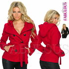 Sexy Women's Winter Coat Belted Jacket With Hood Outerwear Size 6 8 10 XS S M