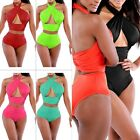 UK Hot Sexy Womens Beach Vintage High Waist Bikini Set Bandage Swimwear Swimsuit
