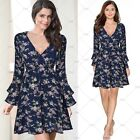 Womens Retro lotus V Neck Chiffon Cocktail Party Floral Beach Hibiscus Dress