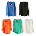 Women's Loose Rivet V-neck Bandage Chiffon Pullover Asymmetry-hem Blouse S-L