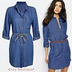 Womens Ladies Italian Longline Denim Shirt Dress Jean Dresses Made In Italy