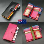 Double Zip 22 Card Inserts Soft Genuine Leather Ladies Womens Wallet Purse