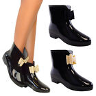 Ladies Boots Womens Bow Wellington Ankle Wellies Rain Snow Black Nude Bow