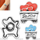 1pc Alloy Enamel BeMine Charms Bead Snap Button For Bracelet Bangle DIY