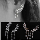 Mode Fashion Crystal Earrings Leaves Tassel Zircon Ear Stud Gold Silver Jewelry