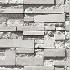 3D Brick Effect Textured Feature Embossed Wallpaper Roll - Grey & Yellow & Cyan