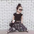 Fashion Baby Girls Summer Outfit T-shirt Tops+ Hiphop Pants Clothes Set US