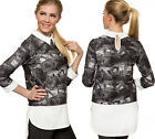 New Womens Keyhole Collar Neck Dipped Hem White Contrast Print Ladies Top 8-14