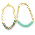 New Women Girls Handmade Chunky Bohemian Beaded Chain Statement Necklace 2 Color