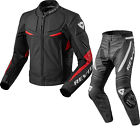 Rev It Masaru Leather Motorcycle Jacket & Trousers Black Red Kit Vented Race Set