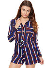 Womens Striped Long Sleeve Playsuit Ladies Top Shorts Button Belted Print Collar