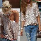 Hot Sale! Sequin Women Sparkle Glitter Tank 3/4 Sleeve Coctail Party Top T-Shirt