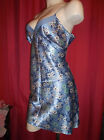 ADONNA NIGHTGOWN NEGLIGEE BLUE & WHITE FLORAL SATIN GLOSSY NWOT M
