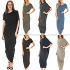 Womens Italian Lagenlook Plain Asymmetric Summer Midi Dress Plus Size 10 12 14