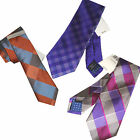 Silk Plaid Neck Tie by Perry Ellis Portfolio Purple or Rust NEW $55 TAG Necktie
