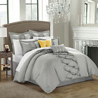 Ruth Ruffled Silver 8 Piece Comforter Bed In A Bag Set