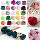 10pcs 25mm Satin Ribbon Rose Flower Craft Wedding Appliques Favors DIY