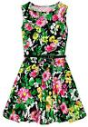 Girls Sleeveless Floral Skater Dress New Kids Vibrant Summer Dresses 7-13 Years