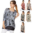 Womens Plus Camouflage Batwing Top Ladies Print Knit Short Sleeve Insert Baggy