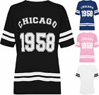 Womens Plus Chicago 1958 Baseball Top Ladies Striped Print Baggy T-Shirt 12-30