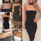 6-14 New Women Bodycon High Neck Collar Shift Dress Ladies Party Midi Sleeveless